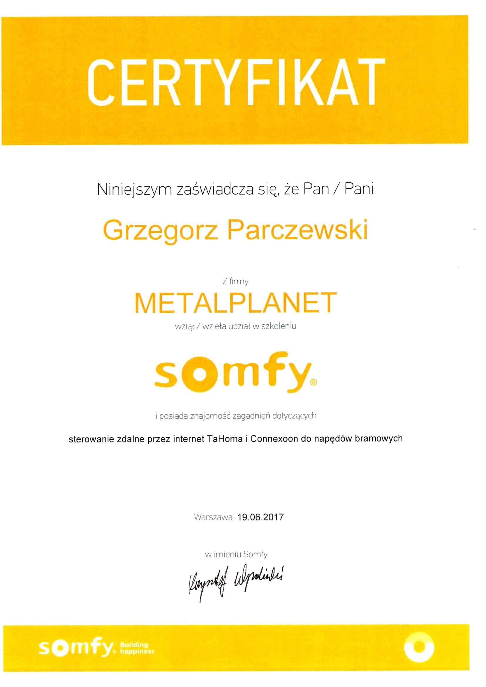 Certyfikat Somfy